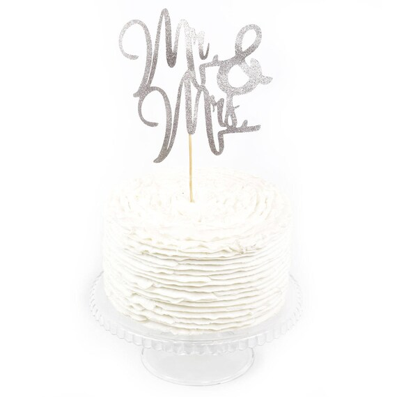 Mr & Mrs Silver Glitter Cake Toppers, Toothpick Cake Topper, Silver Cake, Silver Glitter Wedding Cake Topper Bridal Cake Topper Bachelorette