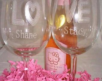 MR & MRS Set(2) of custom engraved wine glasses, engraved wine glasses, His and Hers, Valentine Wine Glass, Couple wine set,