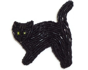 BLACK CAT beaded art pin pendant necklace jewelry (Made to Order)