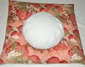 Meditation Cushion Set Handcrafted Zafu and Zabuton Orange Floral Print