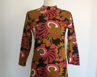 Vintage 70's Floral Dress with Lace Band, Long Sleeves Dress, High Collar Dress