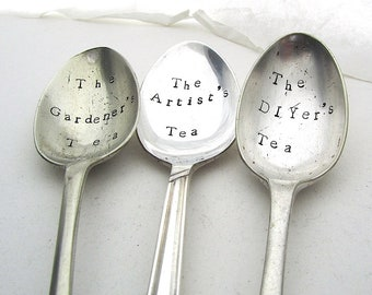 Personal Tea Spoon, Choice of Wording, Handstamped Vintage Teaspoon, Gardener, Artist, DIYer, Hand Stamped Spoon