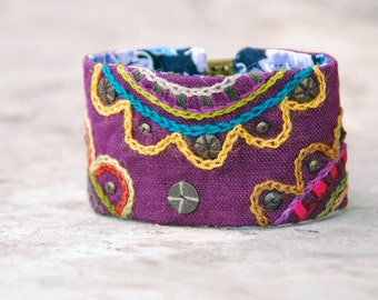 Hand embroidered textile bracelet. Estonian Folklore inspired colorful bracelet with embroidery