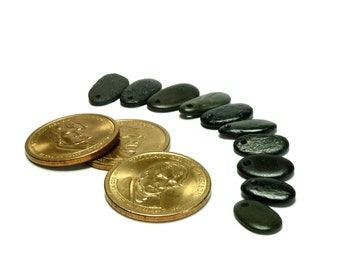 Beach Stones BLACK SEA Pebbles Genuine Drilled River Rock Charms Jewelry Organic Nature Finds Authentic Stones DIY Beads