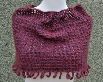 Handknitted Burgundy Lace and Loopy Cowl