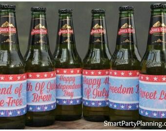 4th Of July Printable Beer Labels