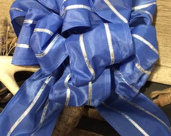 BOWS, Set of 5, BLUE With Silver Stripe  Package,  Gift Wrap, Any Occasion
