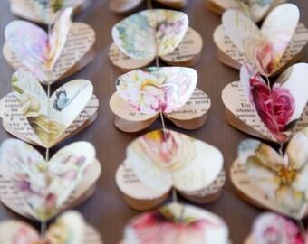 Spring wedding decor, Paper garland, Rustic wedding, Peony, Paper heart garland, Blush Wedding