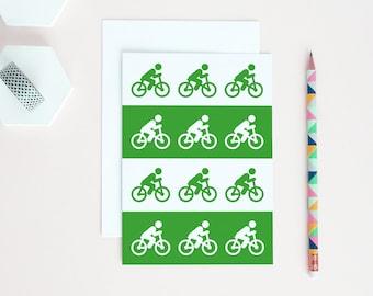 Bicycle Card | Card For Cyclist | Green Cycling Card | Cyclist Birthday Card | Cyclist Congratulations | Cyclist Card | Green Bicycles Card