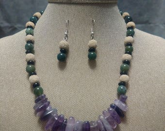 Amethyst and Jade and White Coral and Jet Two Piece Set