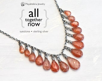 All Together Now Sterling Silver Multi Sunstone Necklace