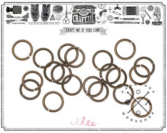 250PCS 6-7MM 22Gauge Antique Brass Jump Rings Wholesale Jewelry Supply Findings Plated Open Heavy Round