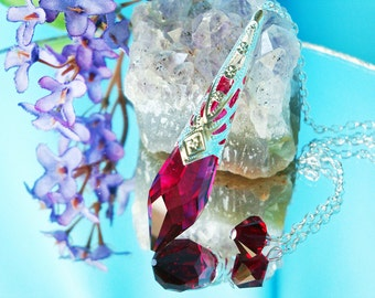 Dowsing Pendulum, Red Swarovski Crystal Divining Pendulum, Single Point Crystal, Metaphysical Magic Wand