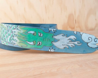Guitar Strap - Leather Dragon Guitar Strap - Breathe Pattern in blue and green - Handmade Guitar Strap for Acoustic or Electric Guitars
