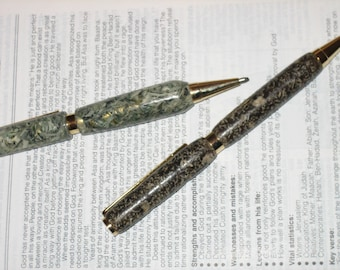 Shredded Money Pens, Grape Nuts, Hand Crafted Pens, Hand Turned, 2 Options, Gold Tone Accents, Unique Gift
