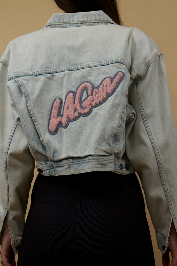 Coat New Vtg Wave Pink 90s Jean GEAR Letterman Baby Girl A 80s Cropped Valley Jacket Logo rare Fuzzy Patches L Denim fwRqZx