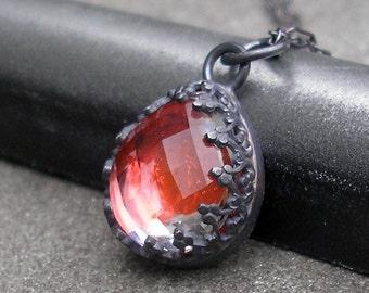 Red Topaz Necklace - Sterling Silver, Filigree Bezel, Teardrop Shape, Red