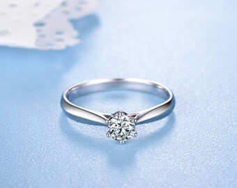 Round Diamond Engagement Ring 14k White Gold or Yellow Gold or Rose Gold Diamond Ring Solitaire Proposal Ring Anniversary Ring