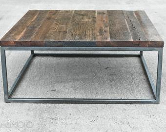 Reclaimed Wood Coffee Table Steel Base Industrial Table Factory Table Brickmaker's Vintage Industrial Table Cast Iron Base Steel Base Table
