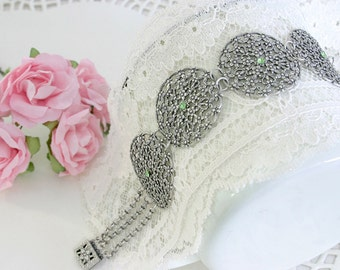 Silver Lace Bracelet With Green Crystals - Silver Statement Jewelry - Bride Jewelry - Romantic Jewelry - Elegant Jewelry