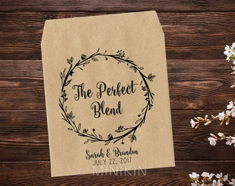 The Perfect Blend, Tea Party Favor, Tea Packet Holder, Tea Bag Favor Bridal Shower Favor, Rustic Wedding, Wedding Favor x 25