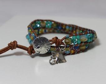 Czech Glass Wrap Bracelet, Sand Dollar and Stingray Charm Bracelet, Beach Bracelet, Boho Bracelet, Bohemian Bracelet, Hippie Bracelet