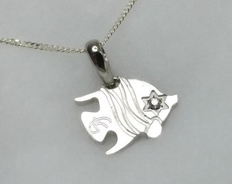 Fish pendants cockroach Silver Pendant with Crystal Silver 925 SK218