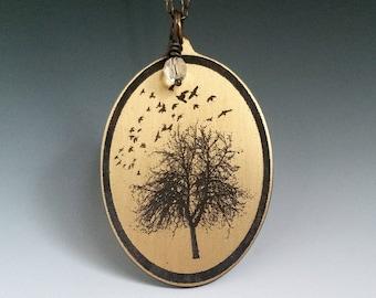 Birds in flight, put a bird on it, birds and trees, bird pendant, bird jewelry, bird silouette, tree silouette,  bird necklace, bird art