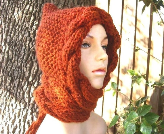 Knit Hat Womens Hat - Cable Scarf Hat in Rust Orange - Hooded Scarf Knit Hat - Womens Accessories
