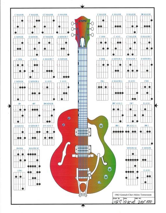 Gretsch Chet Atkins Tennessean Guitar Chords Line Drawing