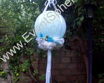 "Shabby Chic Lace & Flowers Wedding/Celebration Hanging Sphere Decoration 92cm/36"""