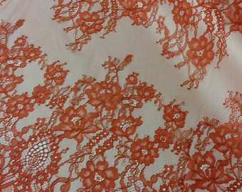 Orange lace fabric by the yard, French Lace Embroidered lace Wedding Lace Bridal lace Evening dress lace Lingerie Lace Chantilly Lace L39122