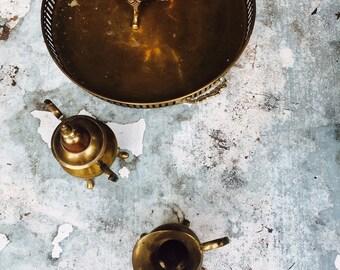 Solid Brass Tea Set||Tea Drinker||Vintage Tea Set||Tea Epicurian