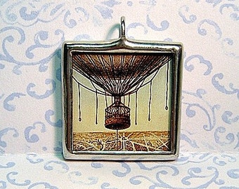 Balloon Over Paris Double Sided Glass Charm Pendant