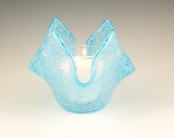 Glass Candle Holder, Votive or Tea Light, Unique Bud Vase, Aqua Blue Bubbles, Fused Glass, Fun Room Decor, Gifts for Her Under 25