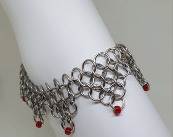 Handmade Chainmaille Stainless Steel Ankle Bracelet.