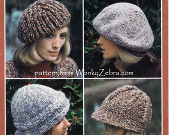 Vintage Knitted Hats Cap Beret Pattern PDF 734 from WonkyZebra