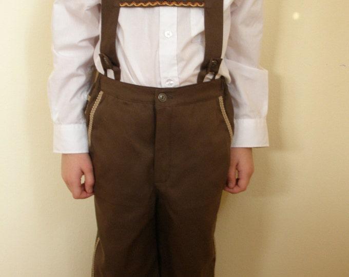 Oktoberfest plain cotton brown Lederhosen ct3g7kT8nv