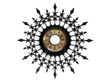 Vintage Large Mid Century Starburst Style Wall Clock with Black Spears Ornamental Curls and Mirror Center