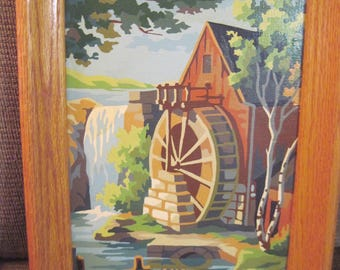Silent Landmarks Painted by Dana Kay Putman Vintage Art paint by number oil painting dated 1961 oak frame