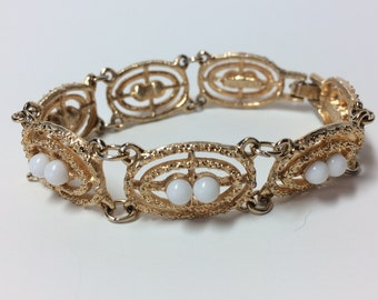 Vintage Sarah Coventry Costume Jewelry Gold Pearl Link Bracelet
