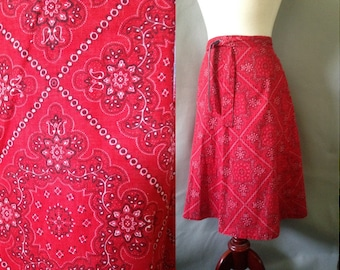 """SALE..70s Wrap Skirt / Red Banana Print / Cotton / Multi Sized / """"A"""" Line Skirt / 1970s Rockabilly, Western or Picnic Style  / sizes XS to M"""