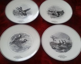 4 AMBERCROMBIE & FITCH CHASTAGNER Limoges Federal Duck Stamp Collectible Plates