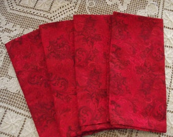 Set of 4 Handmade Red Tooled Leather Look Fabric Napkins, Dinner Napkins, Cloth Napkins, Cotton Napkins, Luncheon Napkins, Western Decor