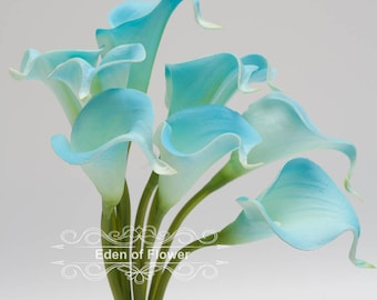Real Touch Blue Calla Lilies Bouquet for Wedding Bridal Bouquets, Centerpieces, Decoration  Turquoise  sky bule