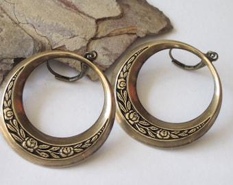 Brass Hoop Earrings, Metal Dangle Earring, Black and Antiqued Gold Rose Donut, Brass Metal Hoop, Womens Jewelry