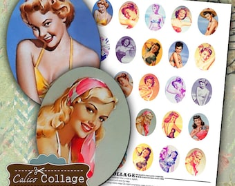 Sassy PinUps Digital Collage Sheet 30x40mm Oval Cameos Printable Images for Cameo Jewelry 1950s Pin-Ups Rockabillie Jewelry Digital Design