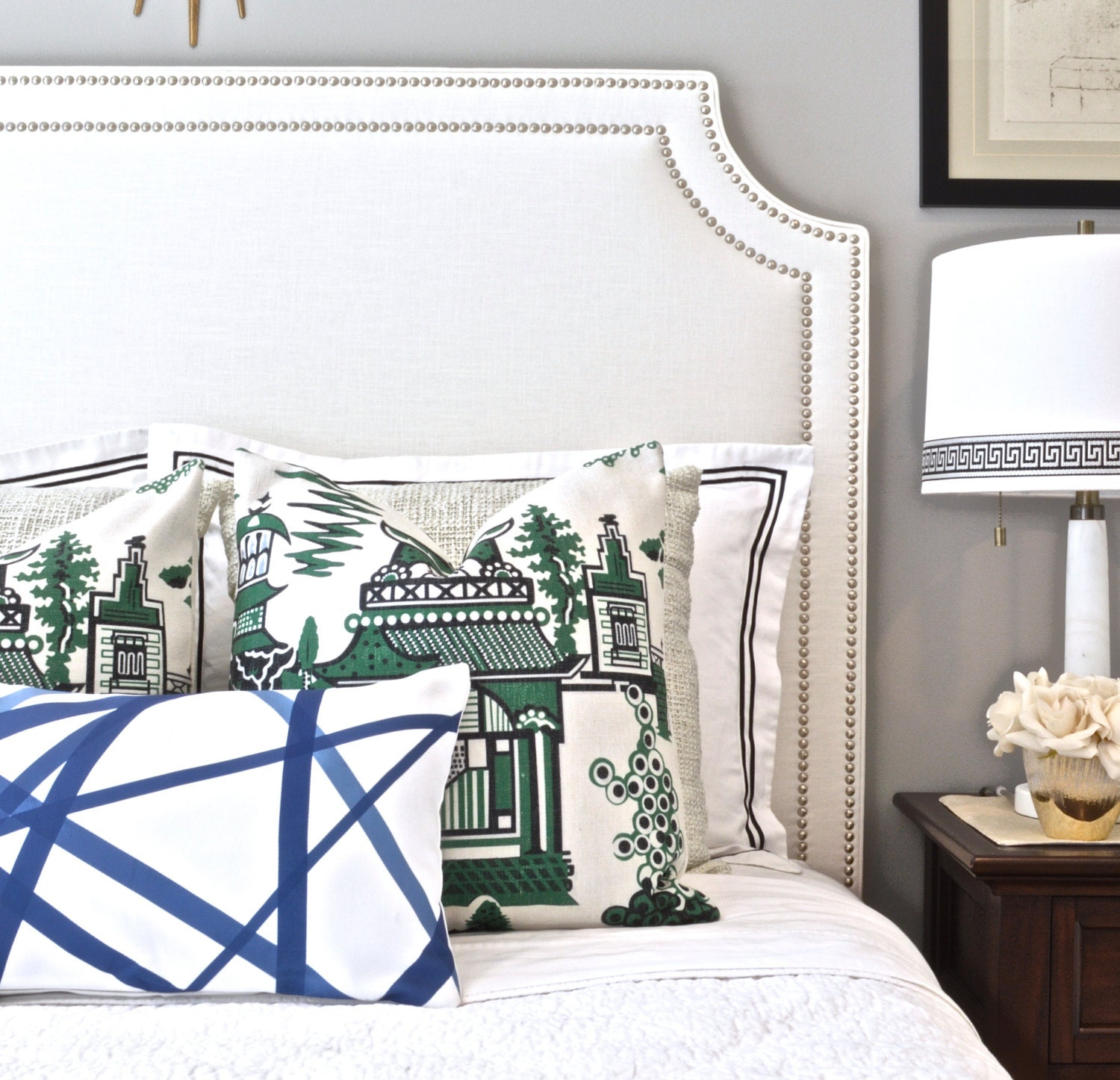 headboard two ideas way drawers simple bedroom bedding on upholstered white a modern wooden with wall adorn trim to nightstand pictures and nailhead patterned fabric set