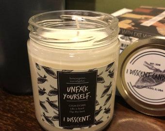 UNFXCK YOURSELF. Eucalyptus & Lemongrass 8oz Soy Candle