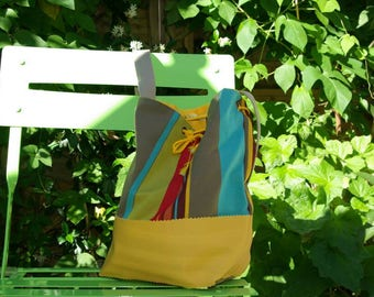 Bag bucket canvas bayadère and imitation leather yellow
